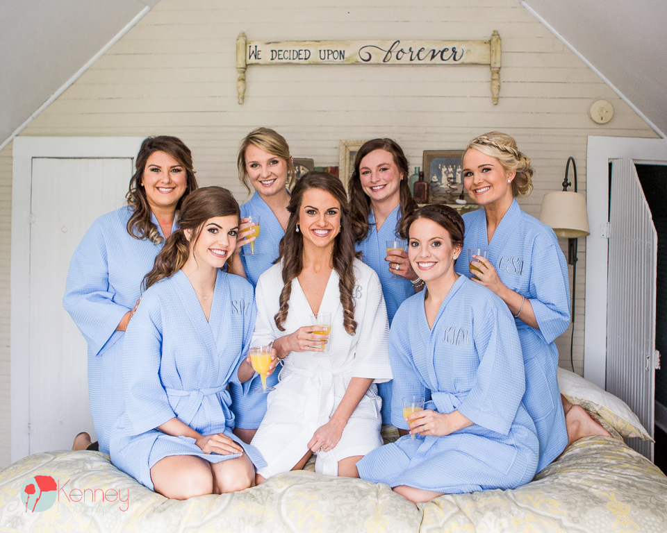 bridal party at farmhouse