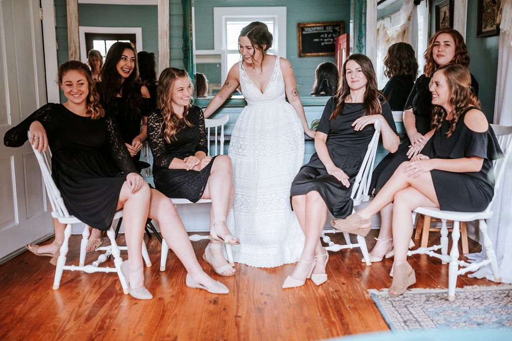 bride and bridesmaids in prep room