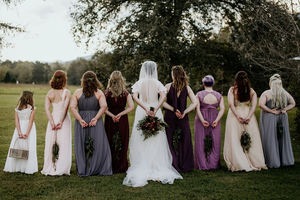 bridal party from behind
