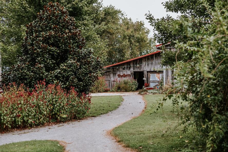 gravel pathway to barn